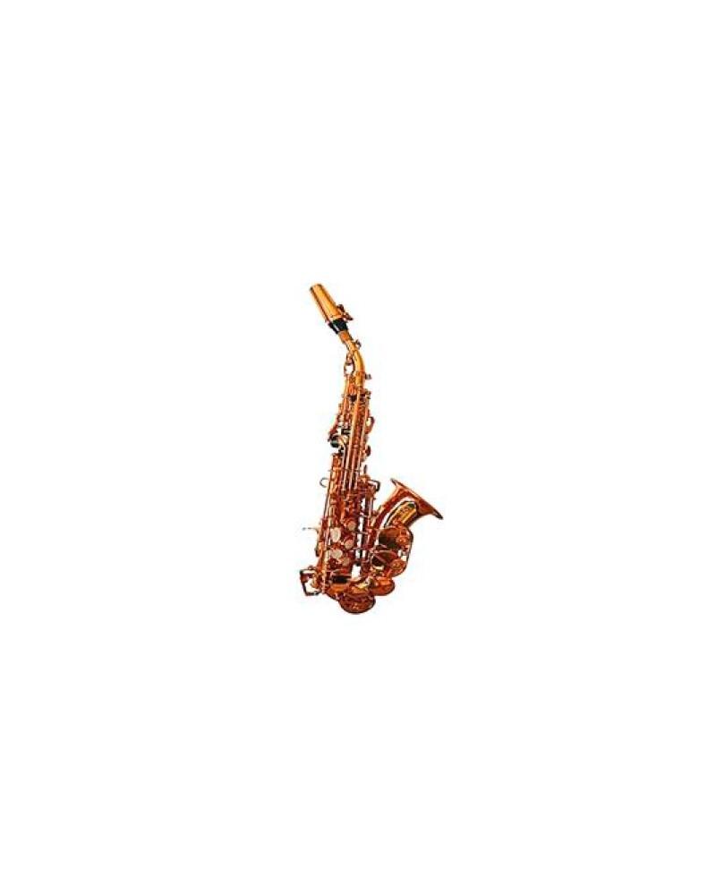 Saxofon soprano Sib proferional, curvo Logan. Lacado oro