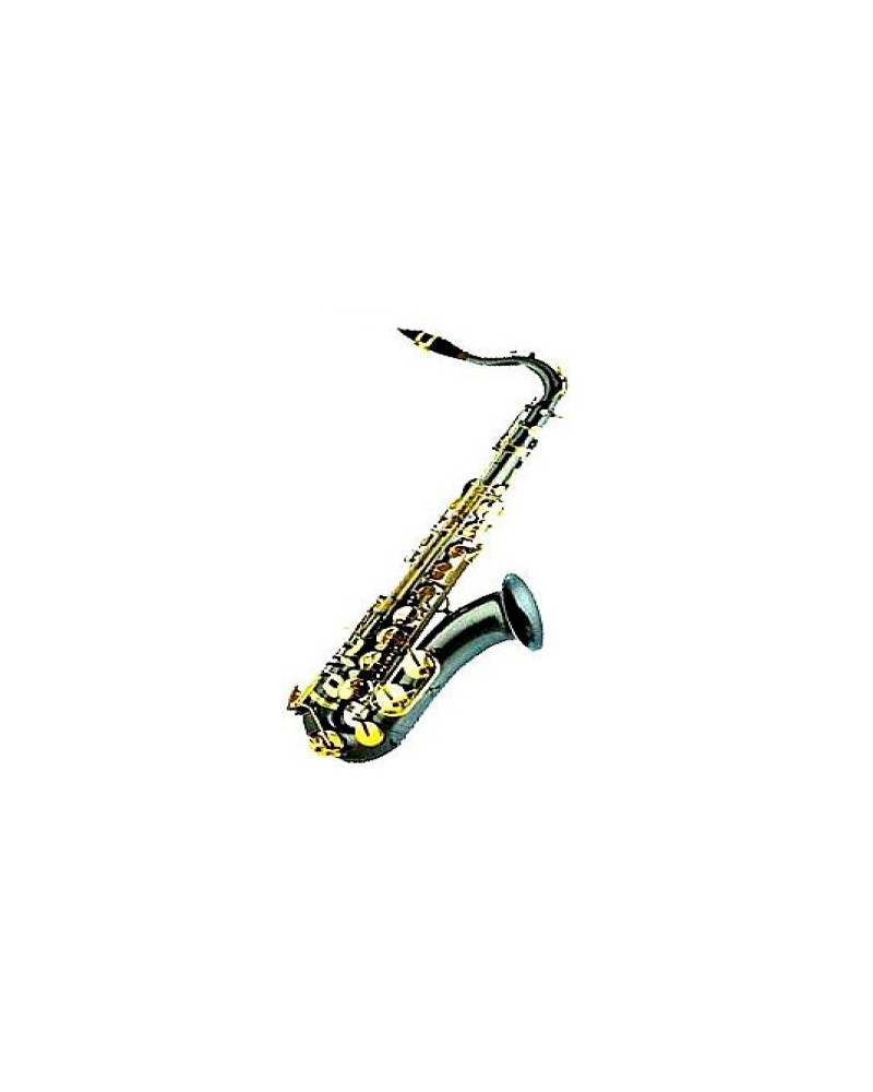 Saxofón Tenor Sib Profesional. Cuerpo negro. Llaves lacadas en oro.Logan.
