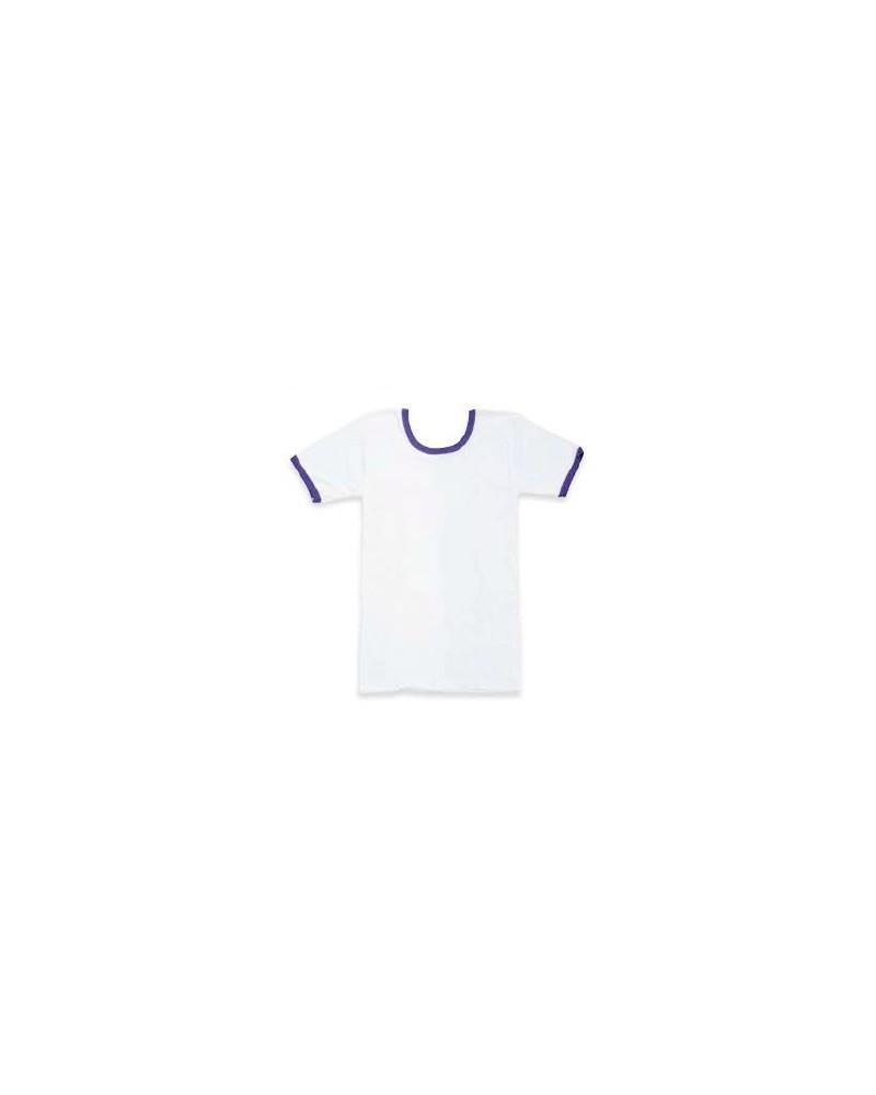 Camiseta de manga corta y cuello barca con ribetes