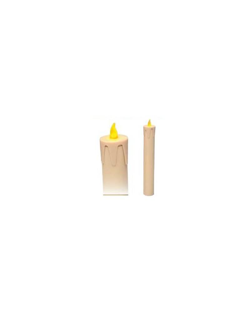 Vela eléctrica de tubo PVC con bombilla led y símil de gota