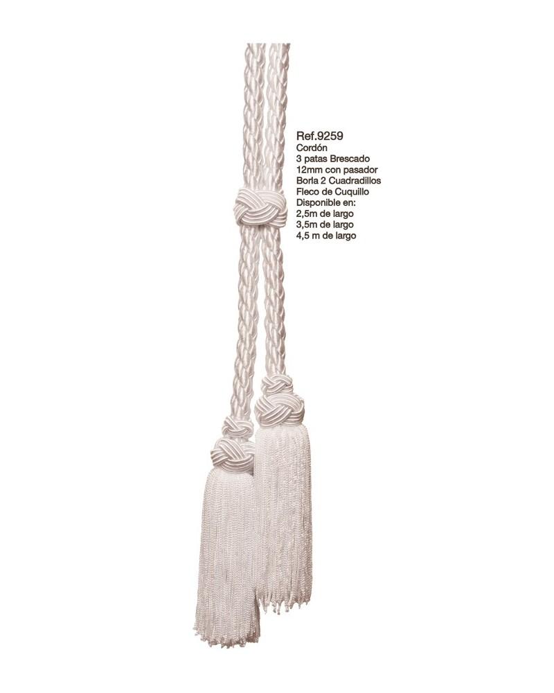 Cíngulo o cordón de 3 patas 12 mm brescado borla 2 cuadradillos fleco cuquillo