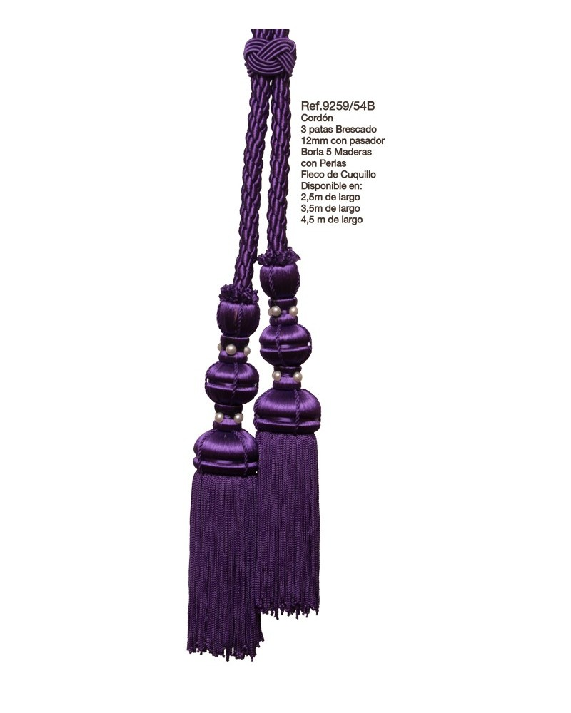 Cíngulo o cordón 3 patas brescado 12mm borla 5 maderas con perlas fleco de cuquillo