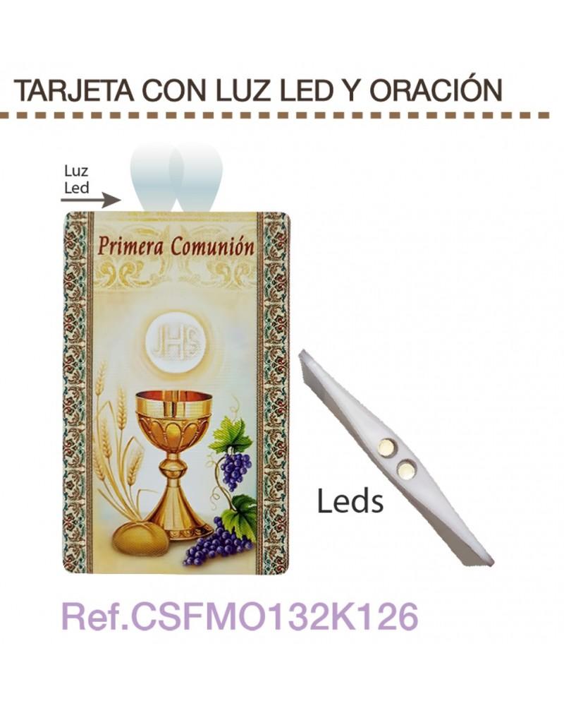 Tarjeta con luz led y oración