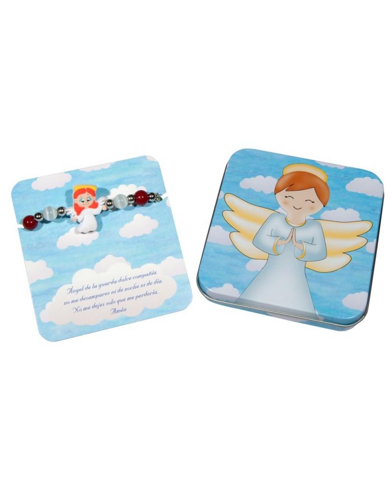 Pulsera de caucho en caja de metal Angel