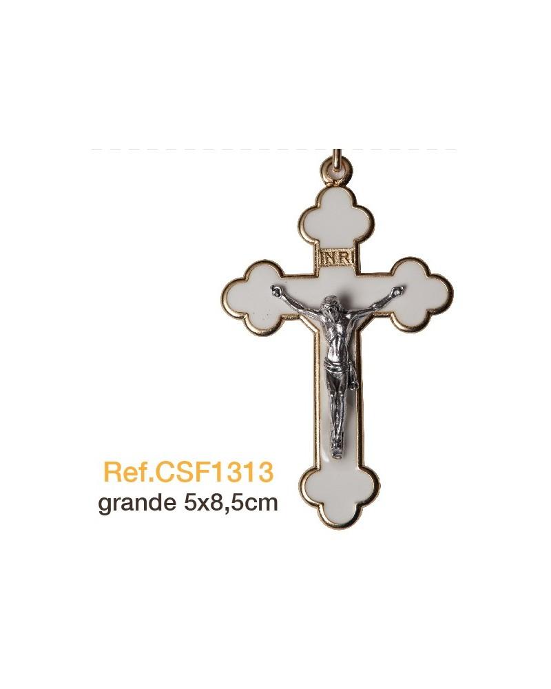 Cruz trébol metal esmaltada primera comunión 5x8.5 cm
