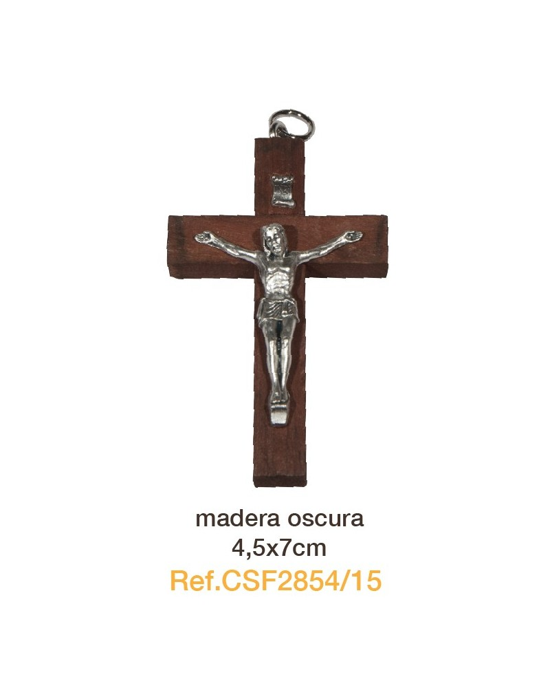 Cruz madera con cristo de metal 4.5x 7 cm primera comunión