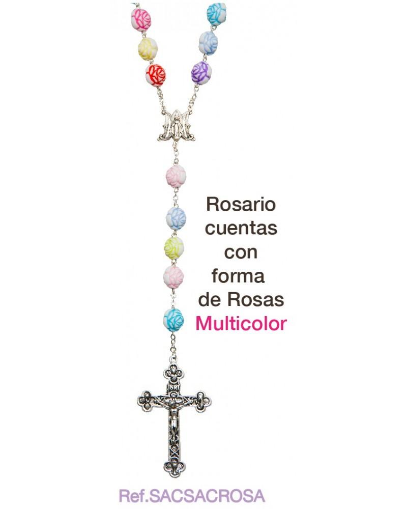 Rosario  de rosas multicolor primera comunión
