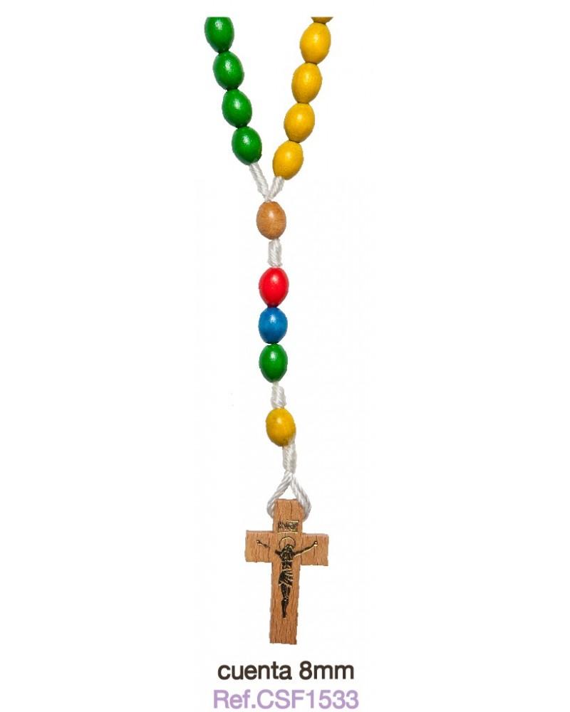 Rosario misionero colores 8mm primera comunión