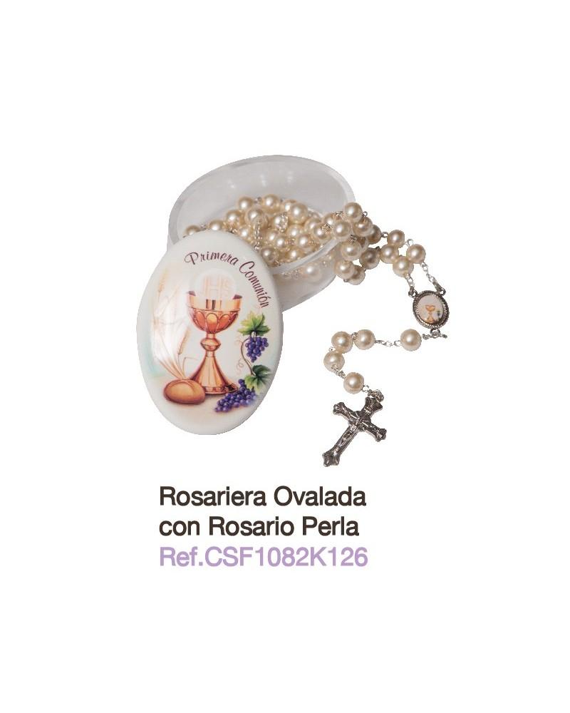 Rosario de perlas con rosariera primera comunión