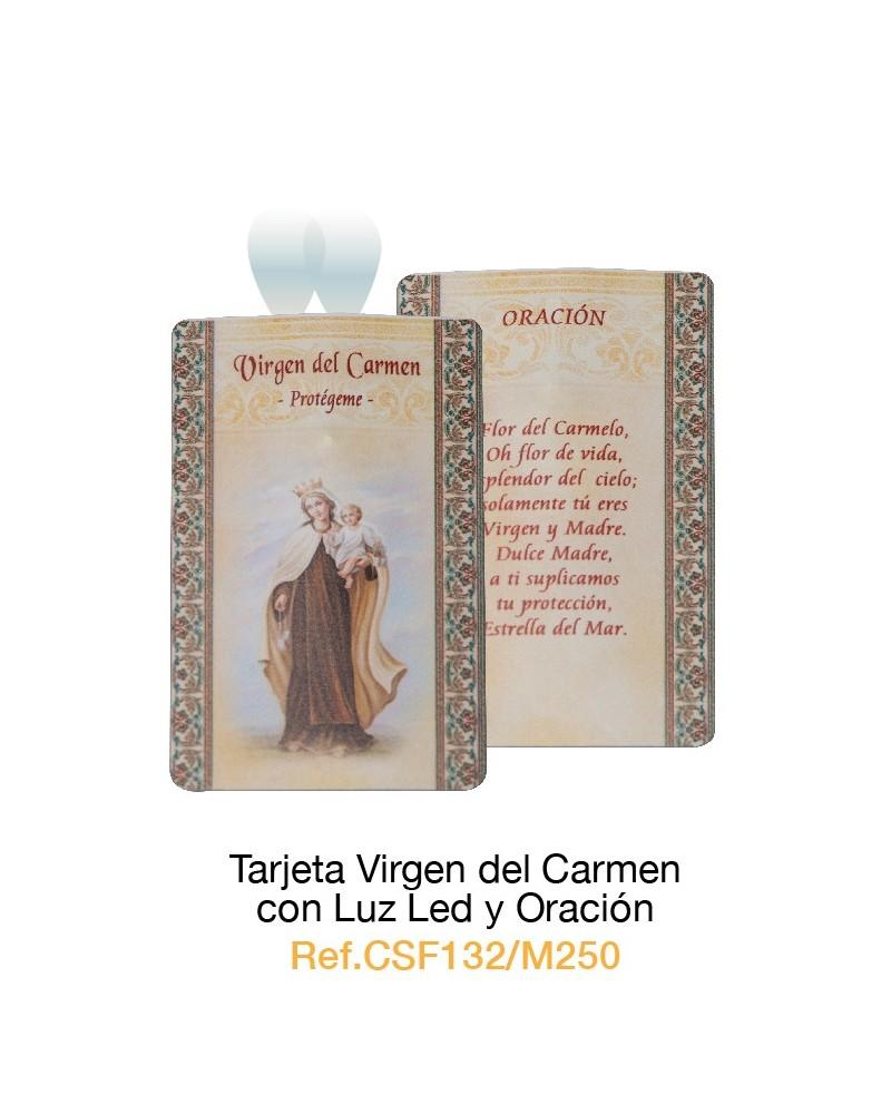 Tarjeta con luz led Virgen del Carmen