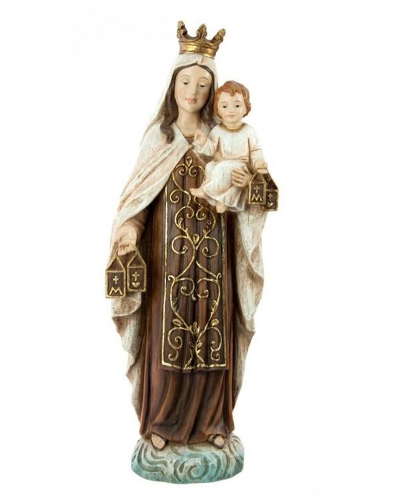 Figura Virgen del Carmen en resina  acabado madera