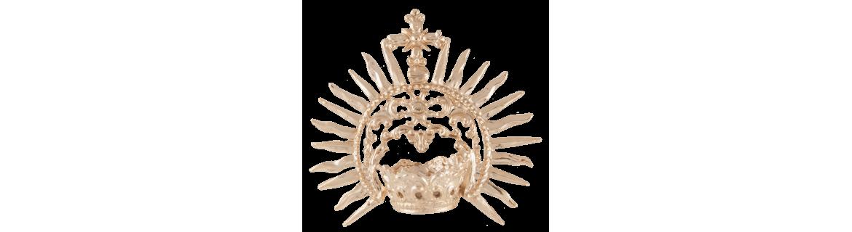 Corona para virgen pequeña bañada en oro o plata.