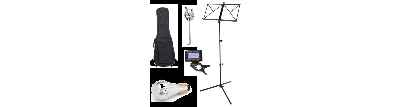 Fundas para instrumentos, atril para instrumento, atril de pie, etc.