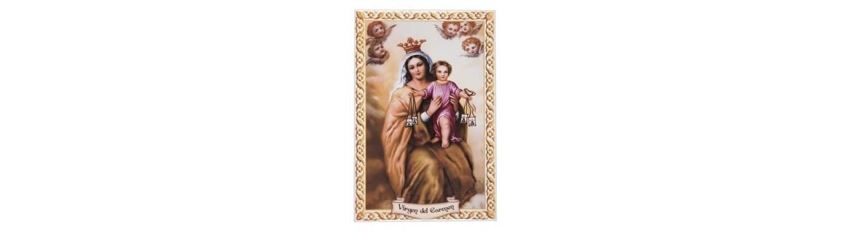 Azulejos e imágenes de la Virgen del Carmen, fabricadas en resina.