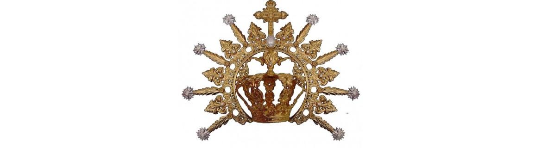 Corona para virgen, con estrellas, repujada y dorada o plateada